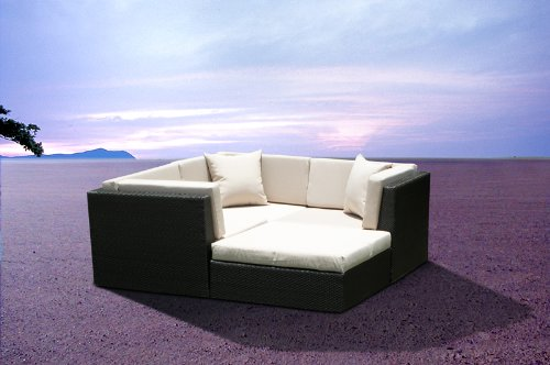 Outdoor Patio Wicker Furniture Sofa Sectional 4pc Resin Couch Set image