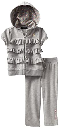 Calvin Klein Baby-Girl's Infant Hooded Pant Set, Gray, 24 Months