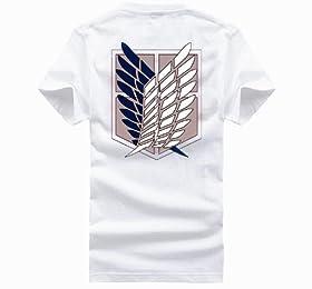【 進撃の巨人 調査兵団風 デザイン Tシャツ 】 重ね翼の紋章 エレン・イェーガー ミカサ・アッカーマン アルミン・アルレルト コスプレ 衣装 普段着 白 Lサイズ