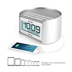 iHome IBT230SSC Bluetooth Bedside Dual Alarm Clock Radio (Silver) with Speakerphone, USB Charging and Line-in