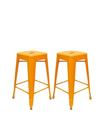 Aeon Set of 2 Galaxy Counter Stools, Orange