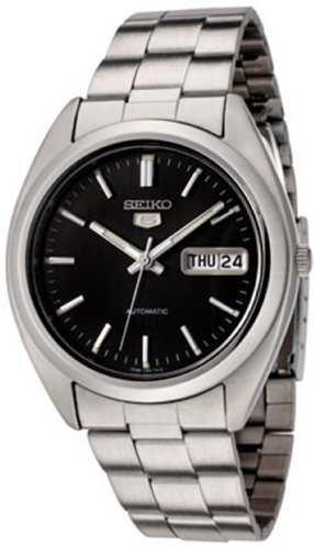 Seiko Men's 5 Automatic SNX115K Silver Stainless-Steel Automatic Watch with Black Dial