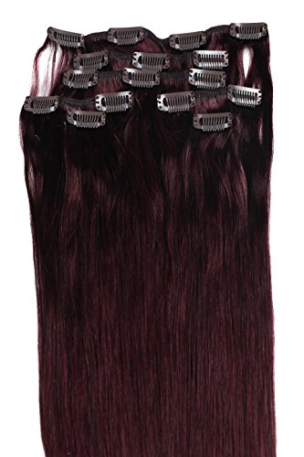 Clip Hair Extension, Grammy 18 Inch Long Straight Nature Full Head Clips In Human Hair Remy Hair Extensions Clip Extensions Human Hair Clip 7pcs ( #99J Red Wine Burgundy) (Burgundy Clip In Hair Extensions compare prices)