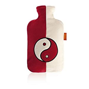 Fashy Hot Water Bottle with a Fleece Cover and Application 2.0L