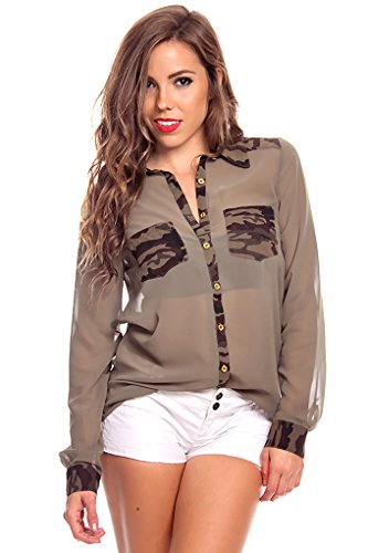 Lolli Couture Army Print Chiffon Button Cut Out Back Top S Olive front-810771