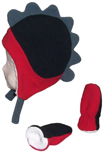 N'Ice Caps Little Boys and Baby Soft Sherpa Lined Fleece Dino Hat Mitten Set (6-18mos, Black/Red/Grey Infant)