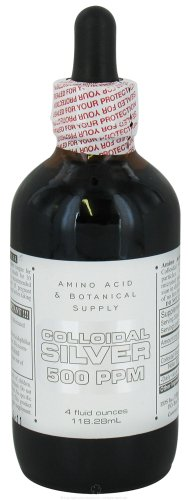Amino Acid & Botanical Supply Colloidal Silver 500ppm 4 oz, 2 pack