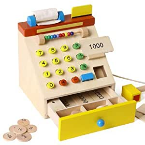 Wooden Cash Register with Movable Parts and Fun Accessories - COLORMIX