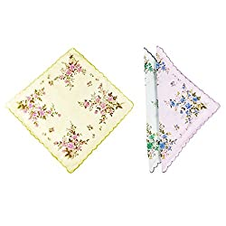 Romano Womens 6pc Handkerchiefs in Floral Print 100% Cotton