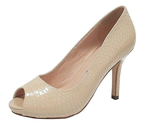 Pepe-12 Women's Open Toe Patent Comfort Fit Classic Party Date Platform Dress Heels Pumps shoes Nude 5.5