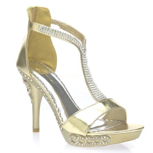 Glamorous Womens Diamond8 Open Toe Studded Rhinestone Strappy High Heel Platform Sandal Stiletto Pump Shoes, Gold Pu Leather, 5.5 B (M) Us
