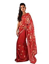 Beautiful Red Designer Party Wear Saree Embroidery Sequins Work Sari