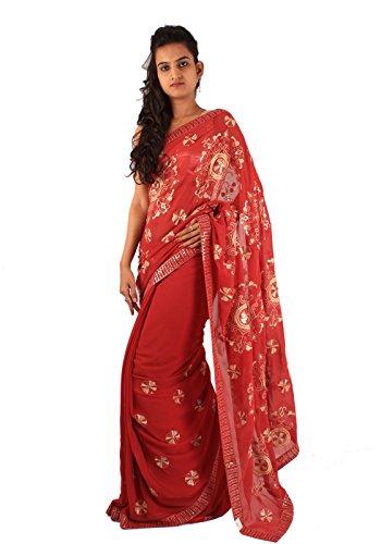 Beautiful Red Designer Party Wear Saree Embroidery Sequins Work Sari
