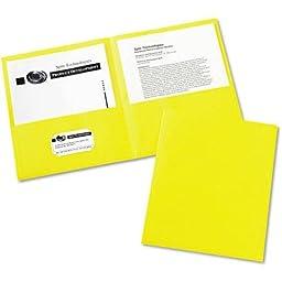 Avery Two-pocket Embossed Paper Portfolio, 30-sheet Capacity, 25/box Yellow