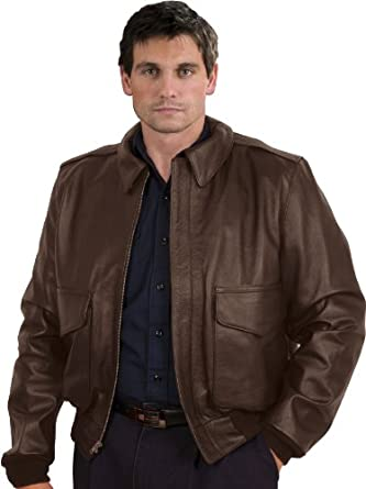 San Diego Leather Jacket Factory A2 Air Force Jacket In Brown Lambskin Leather-Dark Brown-48L