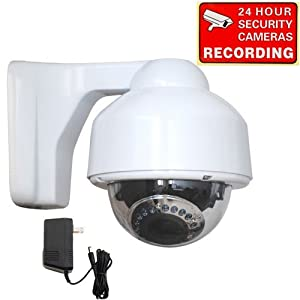 VideoSecu Dome Security Camera Day Night Vision Zoom Focus Infrared Outdoor Weatherproof Color CCD 4-9mm Varifocal Lens 17 IR Leds for CCTV DVR Home Surveillance System with bonus Power Supply 1M6