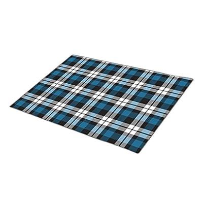 HomeTaste. Monogrammed Door Mat Classic Blue Black White Lumberjack Plaid Pattern Indoor Mats