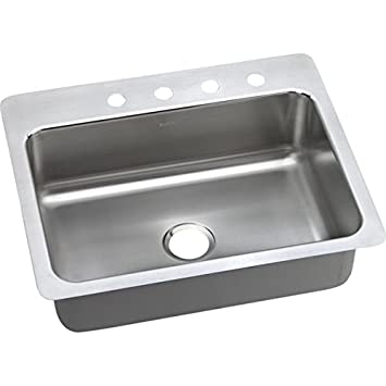 Elkay DPMSR127221 20 Gauge Stainless Steel Single Bowl Dual/Universal Mount Kitchen Sink, 27 x 22 x 8""