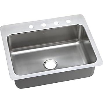 "Elkay DPMSR127221 20 Gauge Stainless Steel Single Bowl Dual/Universal Mount Kitchen Sink, 27 x 22 x 8"""