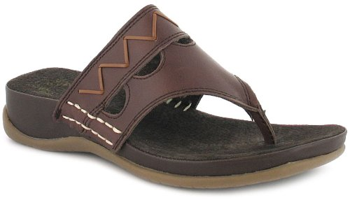 a6227666f506 New Womens Ladies Brown Gluv Leather Toe-Post Wedged Sandals Mules - Brown  - UK 8