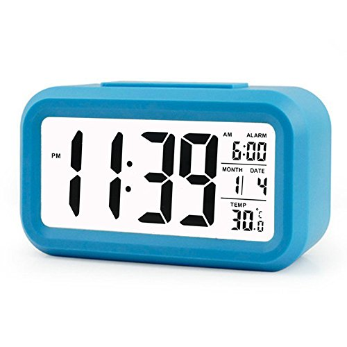 ZHPUAT Morning Clock, Low Light Sensor Technology,Light On Backlight When Detect Low Light,Soft Light That Won't Disturb The Sleep,Progressively Louder Wakey Alarm Wake You Up Softly.Color Blue