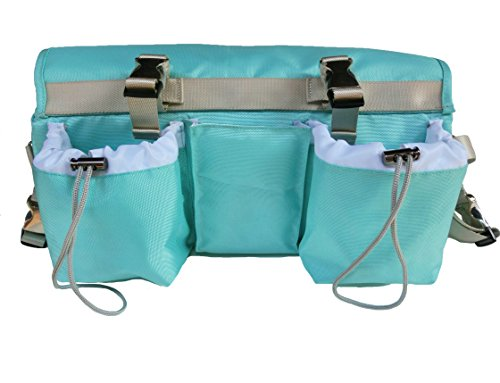 Buggybutler Sport Premium Smart Stroller Organizer & Cooler with 2 XL Insulated Cup Holders & Phone Pocket. Convertible - carry along as diaper bag with shoulder strap (Key West Aqua) Also available in black, pink, orange, & navy.
