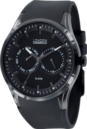 Mens Black Rubber Watch by London Underground LU35002