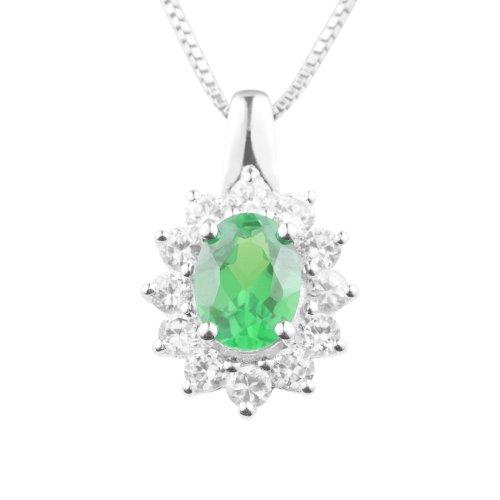 Sterling Silver Created Emerald and Created White Sapphire Pendant Necklace , 18