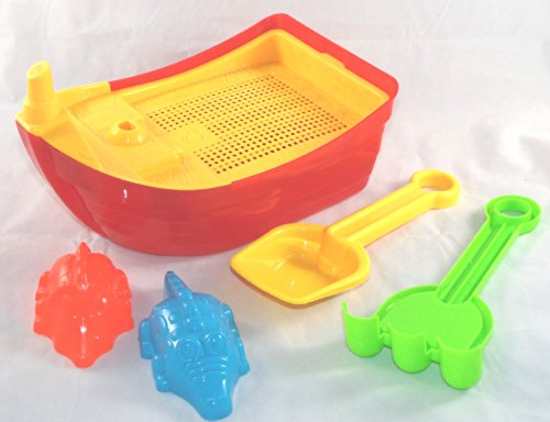 Agglo Beach Sand Toy Set Boat Rake and Shovel and Sand Molds, 6 Piece Set - 1