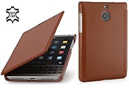 StilGut Book Type, Genuine Leather Case for BlackBerry Passport Silver Edition, Cognac Brown