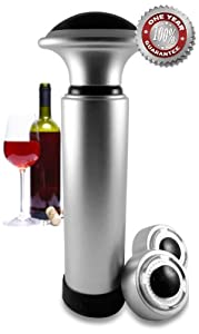 Wine Stopper Vacuum - Wine Vacuum Pump Wine Preserver - Includes 2 Freshness Date Indicator Bottle Stoppers - Wine Saver