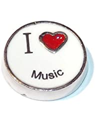 I Love Music Floating Charm For Floating Lockets - Old School Geekery TM Brand Locket Charms - Musician Band Instrument...