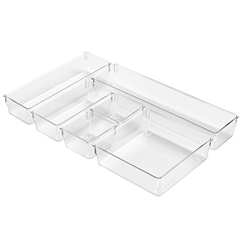 InterDesign Kitchen Drawer Organizer for Silverware, Spatulas, Gadgets - 6 Piece Set, Clear (Drawer Organizer Clear compare prices)