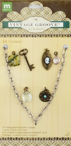 Making Memories Jill Schwartz Vintage Groove Jewelry Kit Cameo and Glass Charms