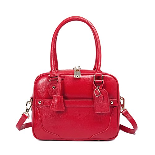 Iuha Italian Leather Mia Lock Satchel-Red