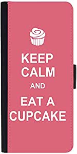 Snoogg Keep Calm And Eat A Cupcake Graphic Snap On Hard Back Leather + Pc Fli...