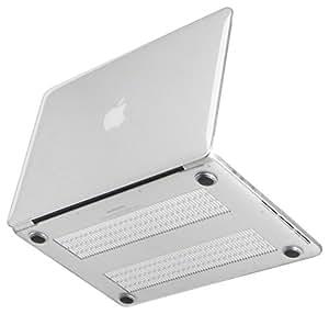 [NEXARY] MacBook Pro Retina 13 インチ クリスタル ハードケース / デュアルマイク 対応、金型跡無し、丈夫なゴム足、ACアダプタポーチ セット (透明 PR13 クリア)