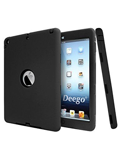 iPad Air Case, 3in1 Hybrid Protective Case for iPad 5 (2013 Release) PC and Silicone Hard Soft High Impact Defender Combo Cover Vogue Shop(Black+Black) (3in1 Contact Case compare prices)