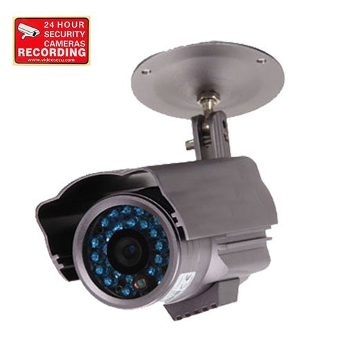 """Videosecu 600Tvl Ir Outdoor Bullet Security Camera Built-In 1/3"""" Sony Ccd Weatherproof Day Night Vision 3.6Mm Wide View Angle Lens Cctv Camera For Dvr Home Surveillance System With Bonus Warning Sticker 1My"""