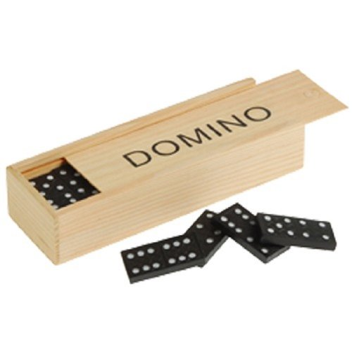 Mini Travel Set Of 28 Dominoes In Wooden Storage Slide Box