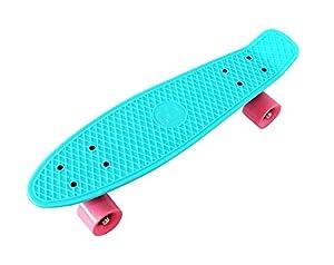 "BENTLEY 22"" KIDS RETRO CRUISER MINI PLASTIC SKATEBOARDS - AQUA WITH PINK WHEELS (7 COLOURS AVAILABLE)"