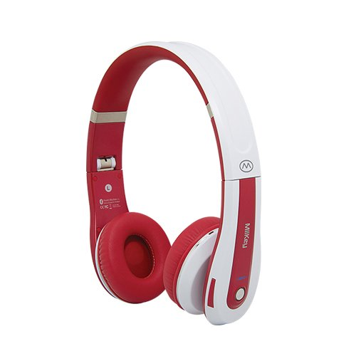 Miikey Rhythm Pro White/Red Wireless Bluetooth 4.0,Nfc,Multi-Connect Headphone With Microphone & Hd Audio