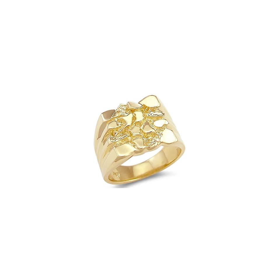 Size  4   Solid 14k Yellow Gold Large Heavy Mens Nugget Ring Band