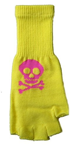 Yellow and Pink Skull and Crossbones Fingerless Texting Gloves Punk - 1