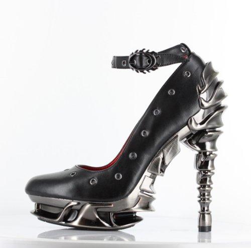 Hades Zephyr Leather Platform Ankle Strape Pumps, Black, 7
