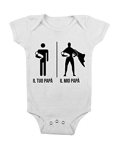 body da neonato bimbo e bimba - Super papà - super eroe - da 3 a 24 mesi by tshirteria