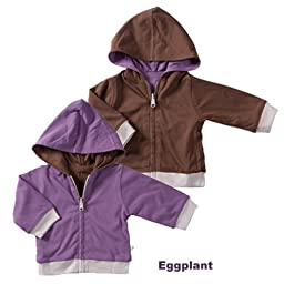 Baby Soy All-Natural Year-Round Reversible Hoodie 6-12 months Color Eggplant (Purple)