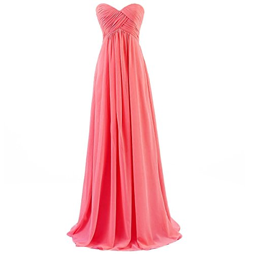 Ouman Sweetheart Bridesmaid Chiffon Prom Dress Long Evening Gown Coral L