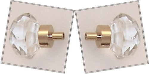 TWO (2) Old Town Diamond 24% Lead Crystal Cut-Glass Knob Pulls with Polished Brass base, 1-1/4