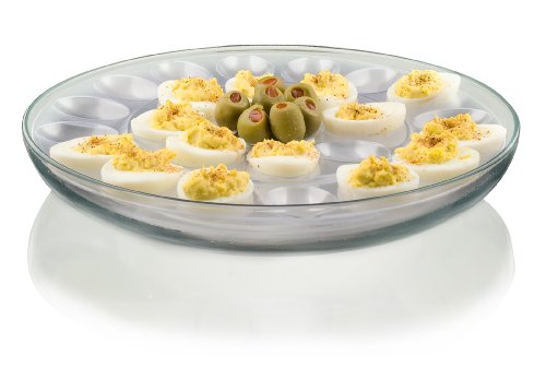 Anchor Hocking Presence 3-Piece Multi-Use serving Tray-Deep Serving Tray with Egg Insert and Veggie Insert (Glass Vegetable Tray compare prices)